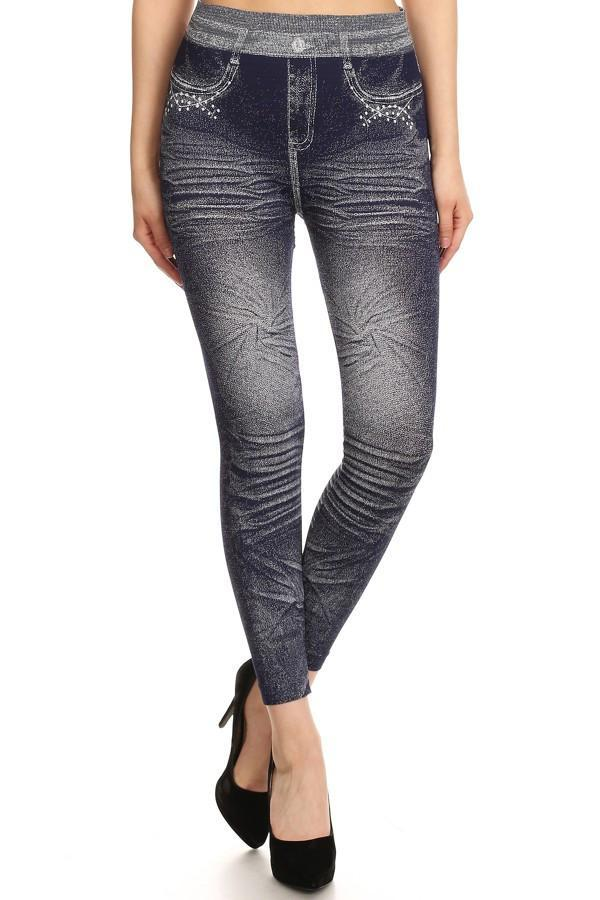 Dark Denim Print Leggings