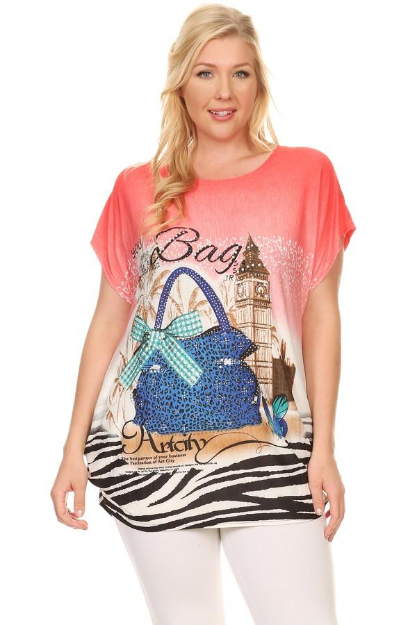 Plus Size Short Sleeve Shirt Print 3