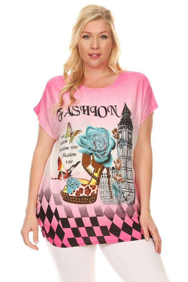 Plus Size Short Sleeve Shirt Print 1