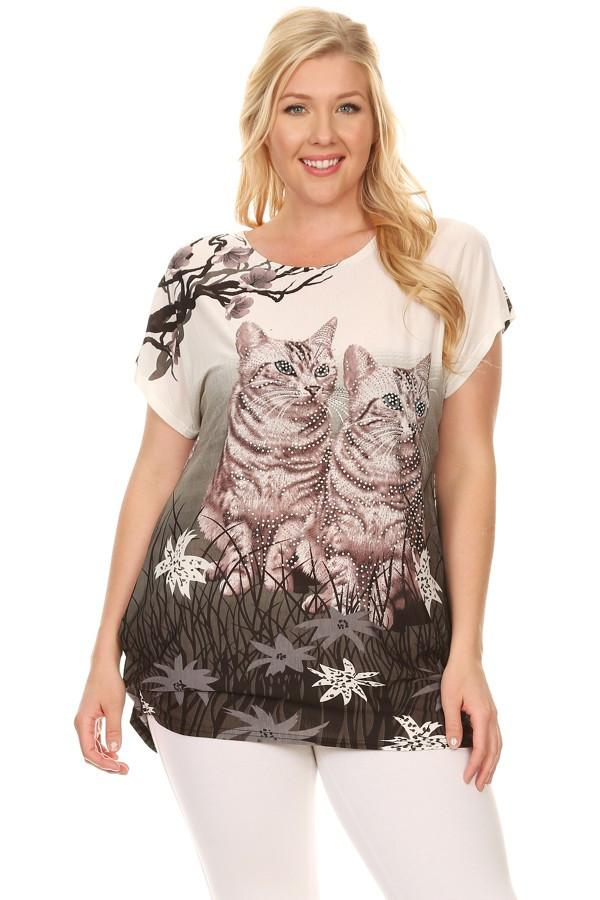 Plus Size Short Sleeve Shirt Print 5