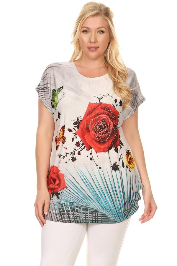 Plus Size Short Sleeve Shirt Print 7