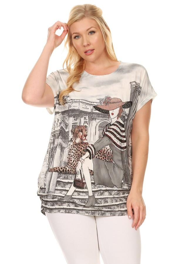 Plus Size Short Sleeve Shirt Print 10