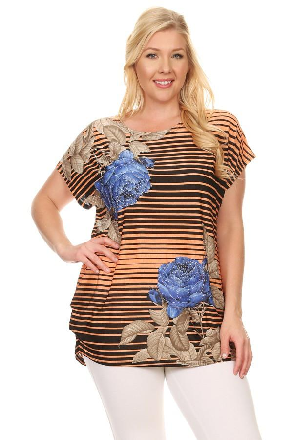 Plus Size Short Sleeve Shirt Print 11