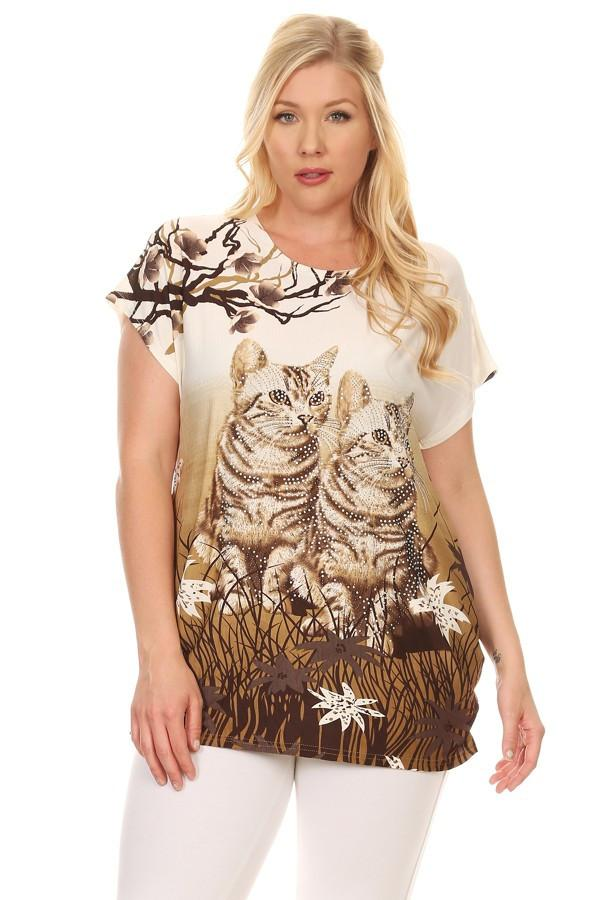 Plus Size Short Sleeve Shirt Print 27