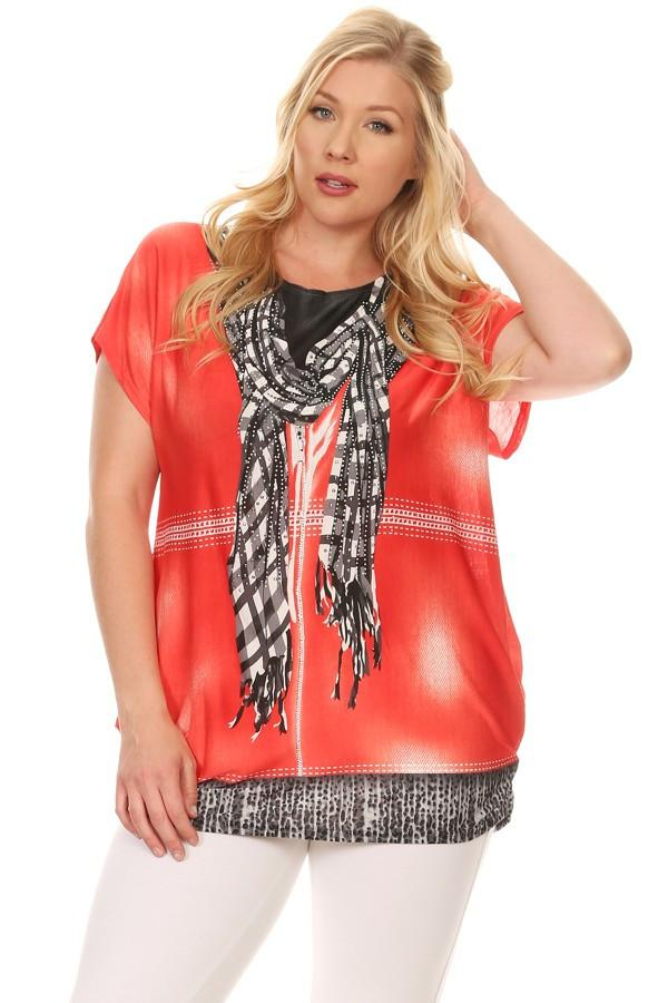 Plus Size Short Sleeve Shirt Print 26