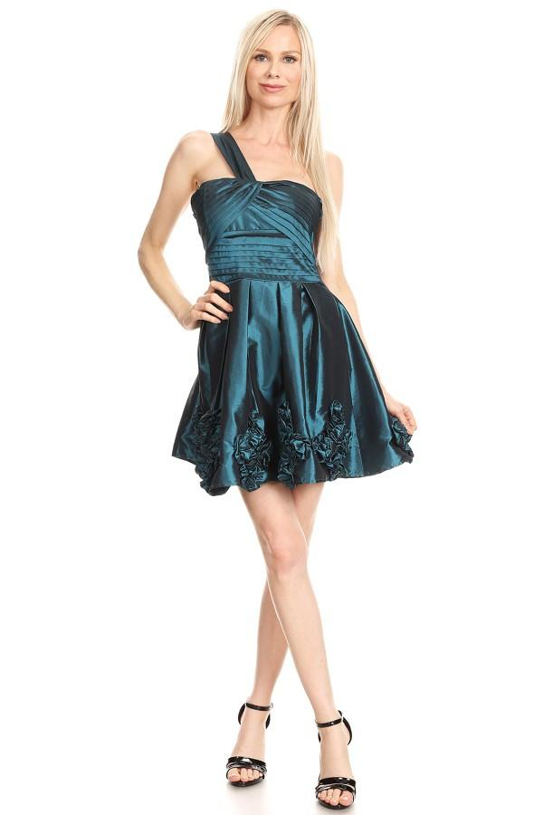 Teal Solid Taffeta One Shoulder Flare Dress