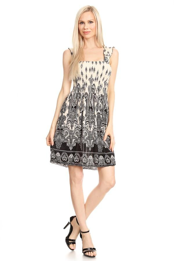 Sleeveless Ornate Paisley Print A-Line Print Dress