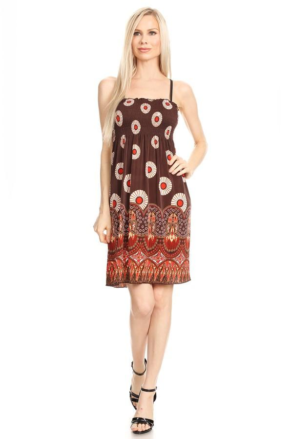 Rust Tapestry Print A-Line Print Dress