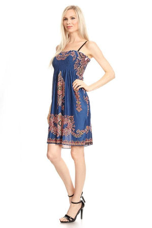 Sleeveless Teal Tapestry Print A-Line Print Dress