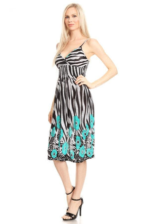 Sleeveless Zebra Print A-Line Print Dress