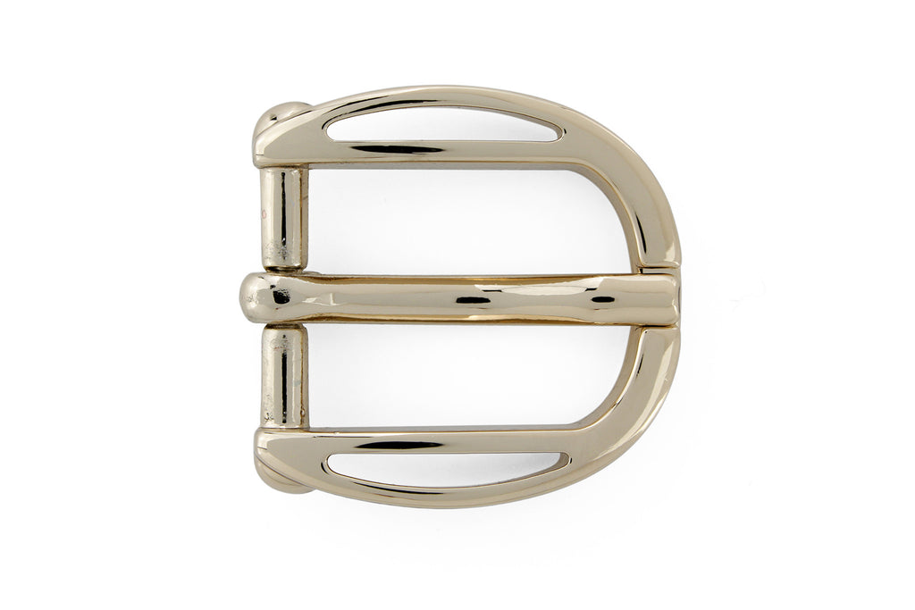 Scooped edge pale gold prong buckle 20mm