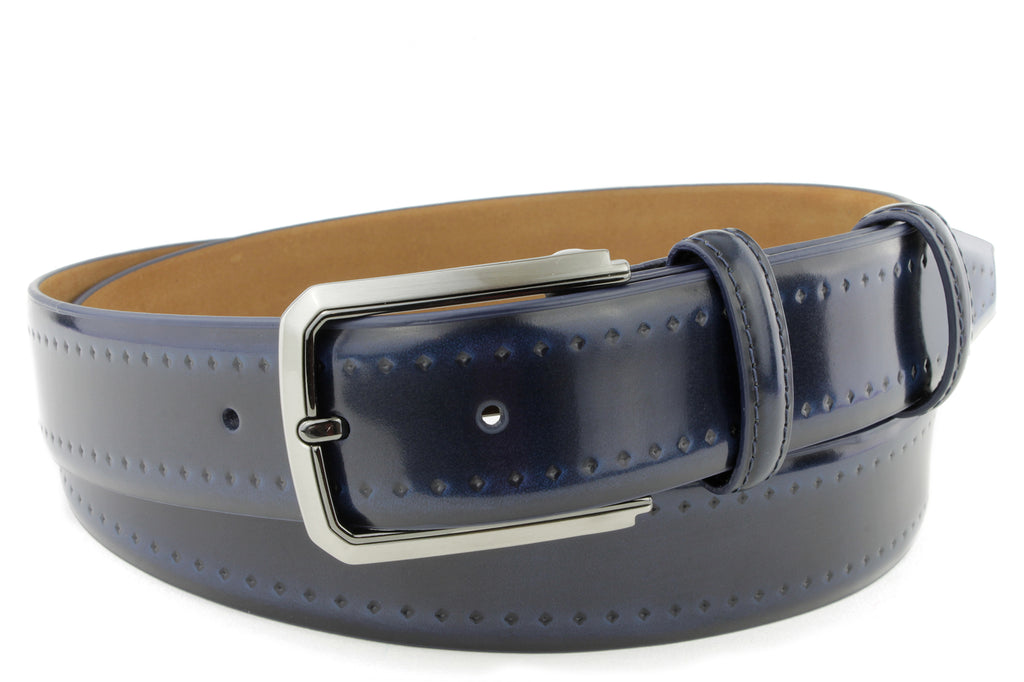 Pacino Electric Blue Men's Hand Burnished Belt