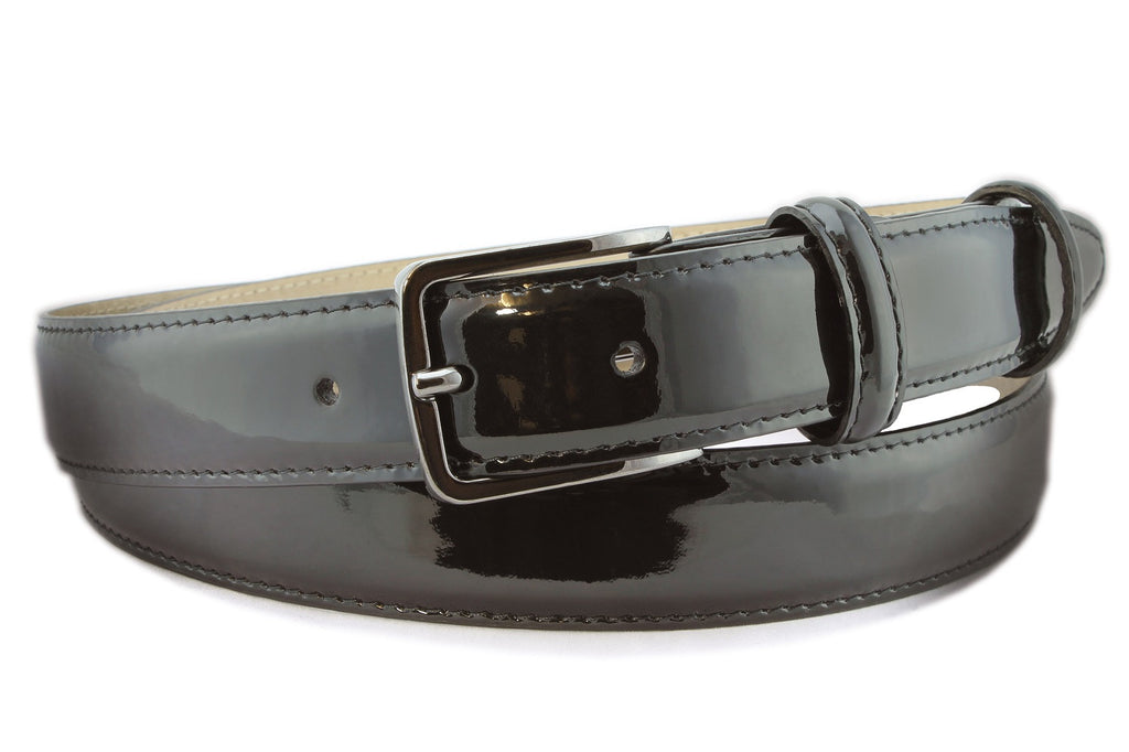 Black narrow patent leather gunmetal belt