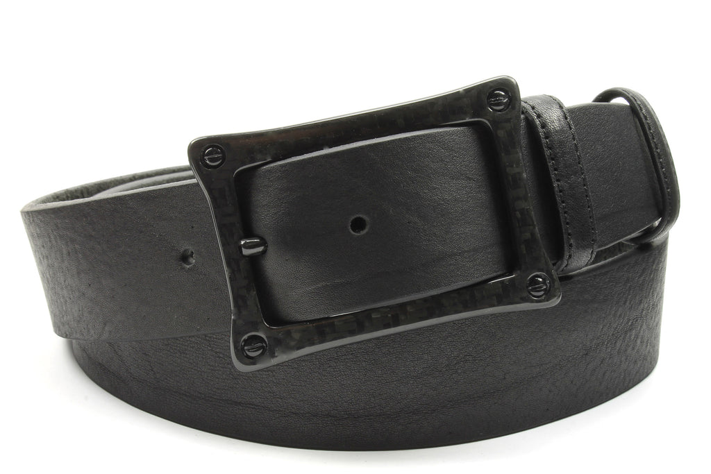 Tumbled Black Leather Carbon Fibre Screw Belt