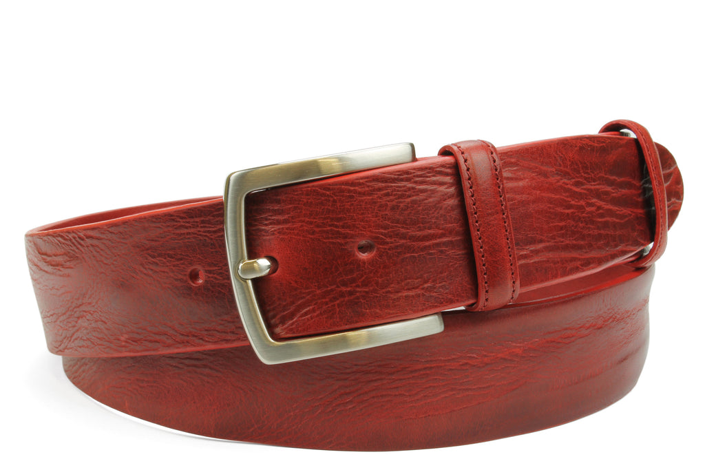 Rich Red Vintage Feel Satin Prong Belt