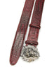 Burgundy Mock Caiman Effect Lion Belt
