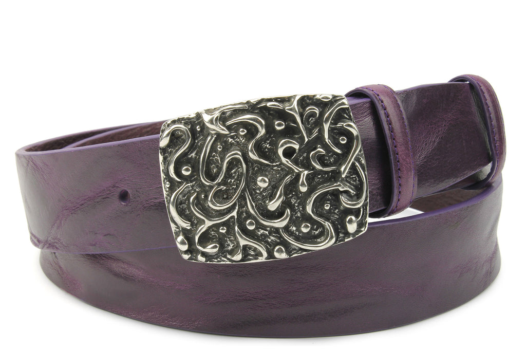 Deep Purple Supple Vintage Textured Plate Belt