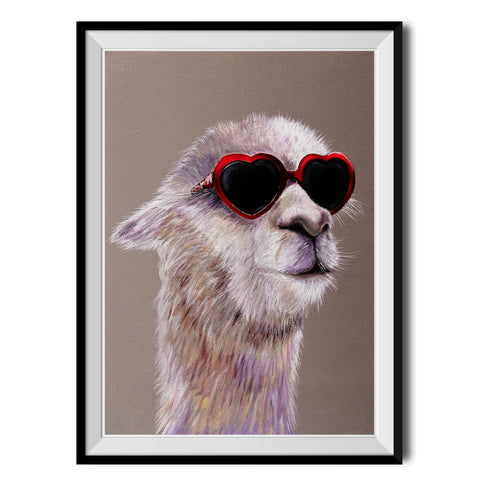 Llama In Love Original Print by Adam Barsby