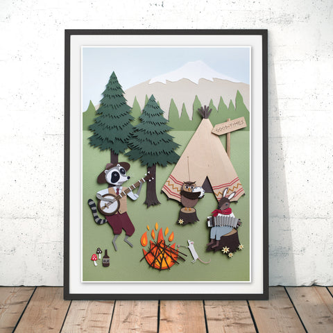 Woodland Camping Original Print by Rachael Edwards