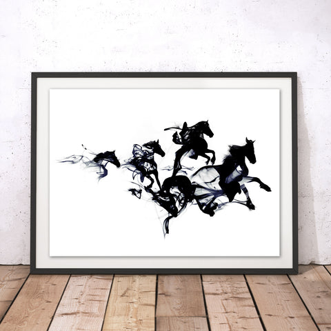 Black Horses Original Print by Robert Farkas