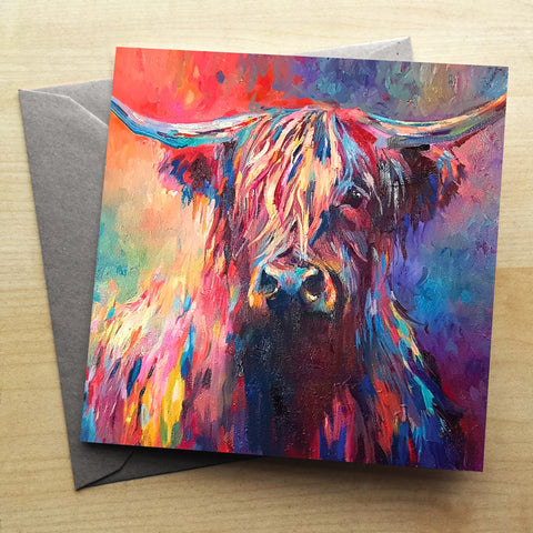 Highland Cow Greetings Card by Sue Gardner