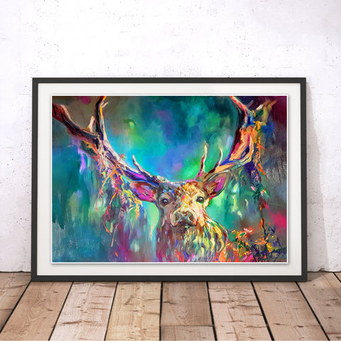 Woodland Stag Original Print by Sue Gardner