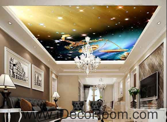 Libra Star Sign Goden Light Wallpaper Wall Decals Wall Art Print Business Kids Wall Paper Nursery Mural Home Decor Removable Wall Stickers Ceiling Decal