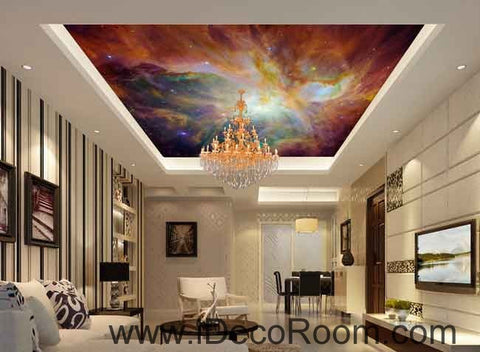 Image of Colorful Clouds Star Sky Wallpaper Wall Decals Wall Art Print Business Kids Wall Paper Nursery Mural Home Decor Removable Wall Stickers Ceiling Decal