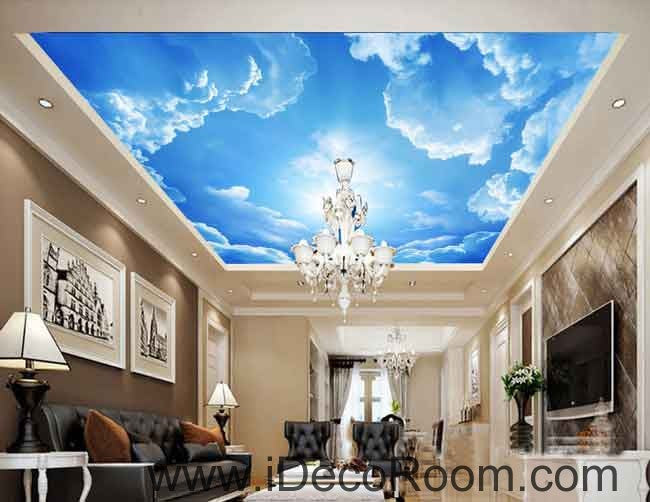 Sunny Day Clouds Clear Sky Wallpaper Wall Decals Wall Art Print Business Kids Wall Paper Nursery Mural Home Decor Removable Wall Stickers Ceiling Decal