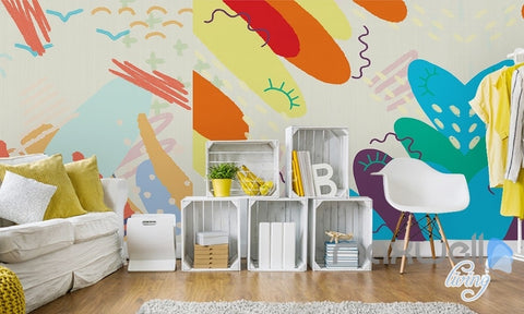 Modern simple hand painted abstract graffiti children house entire room wallpaper wall mural decal IDCQW-000065