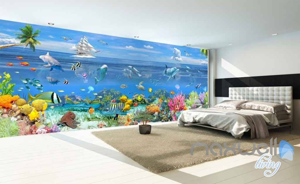 3d Ocean Underwater Colorful Fish Entire Room Wallpaper Wall Murals Id Idecoroom