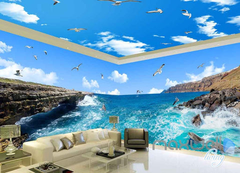 Image of 3D Reef Sea View Bird Entire Room Wallpaper Wall Mural Art Prints IDCQW-000158