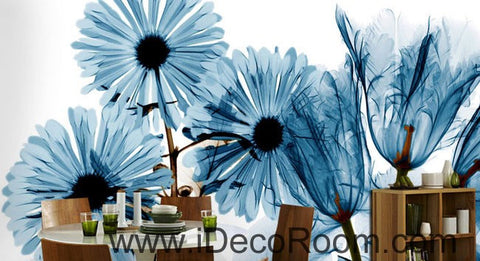 Image of Transparent Blue Daisy flower 000015 Wallpaper Wall Decals Wall Art Print Mural Home Decor Gift Office Business