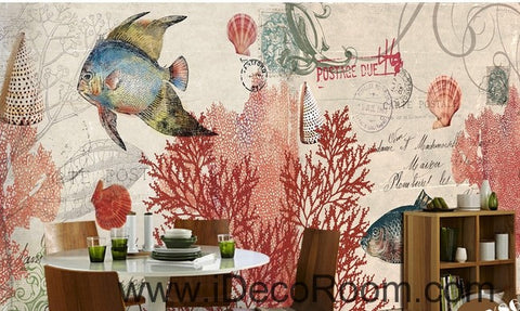 Image of Tropical Fish stamp IDCWP-000049 Wallpaper Wall Decals Wall Art Print Mural Home Decor Gift