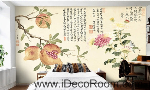 Image of Retro Pomegranate Flower Fruit Chinese Painting wall art wall decor mural wallpaper wall  IDCWP-000101