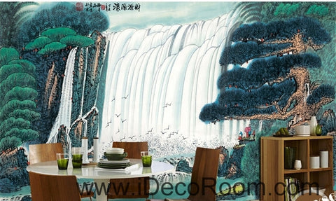 Image of Pine Waterfall Water and Fortune Treasure Basin wall art wall decor mural wallpaper wall  IDCWP-000137