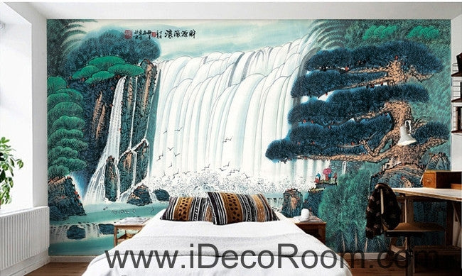 Pine Waterfall Water and Fortune Treasure Basin wall art wall decor mural wallpaper wall  IDCWP-000137