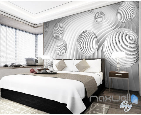 Image of 3D Waving Ball 5D Wall Paper Mural Art Print Decals Modern Bedroom Decor IDCWP-3DB-000025