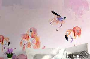 Nordic minimalist abstract flamingo wallpaper wall murals IDCWP-HL-000052
