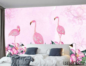 Nordic minimalist abstract flamingo floral wallpaper wall murals IDCWP-HL-000056