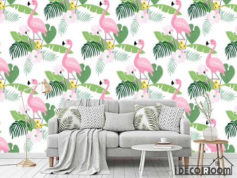 Nordic abstract flamingo banana leaf wallpaper wall murals IDCWP-HL-000356