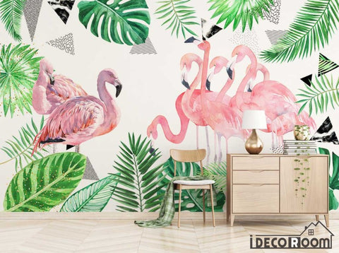 Nordic green leaf flamingo abstract wallpaper wall murals IDCWP-HL-000396