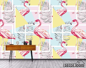 Nordic abstract flamingo plant wallpaper wall murals IDCWP-HL-000419