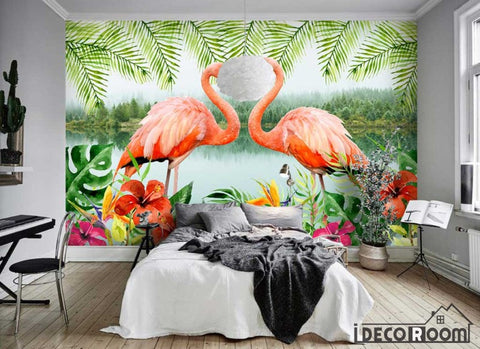 Image of Flamingo modern minimalist Nordic wallpaper wall murals IDCWP-HL-000425
