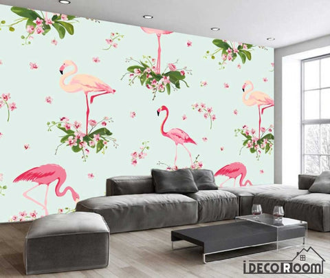 Nordic abstract flamingo banana leaf wallpaper wall murals IDCWP-HL-000437