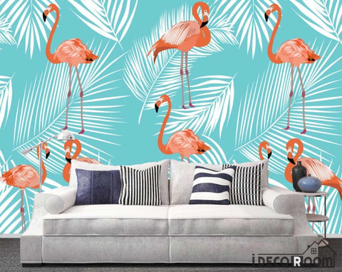 Nordic Abstract Flamingo Banana Leaf Feather wallpaper wall murals IDCWP-HL-000439