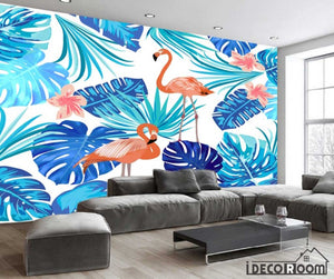 Nordic abstract flamingo banana leaf wallpaper wall murals IDCWP-HL-000440