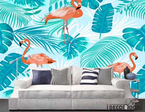 Nordic abstract flamingo banana leaf wallpaper wall murals IDCWP-HL-000441
