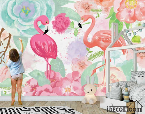 Nordic abstract idyllic rose flamingo wallpaper wall murals IDCWP-HL-000469
