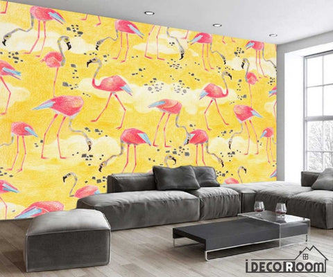 Nordic abstract yellow flamingo wallpaper wall murals IDCWP-HL-000476